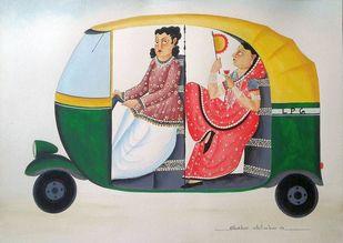 Babu-Bibi in an Auto by Bhaskar Chitrakar, Folk Painting, Natural colours on paper, Beige color
