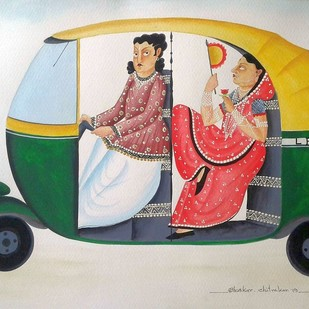 Babu-Bibi in an Auto by Bhaskar Chitrakar, Folk Painting, Natural colours on paper, Beige color