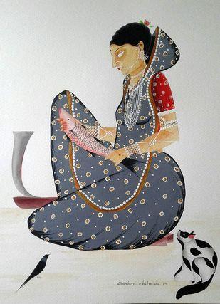 Bibi cutting fish - 2 by Bhaskar Chitrakar, Folk Painting, Natural colours on paper, Gray color