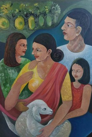 Family by A B PANDEY, Expressionism Painting, Acrylic on Canvas, Brown color