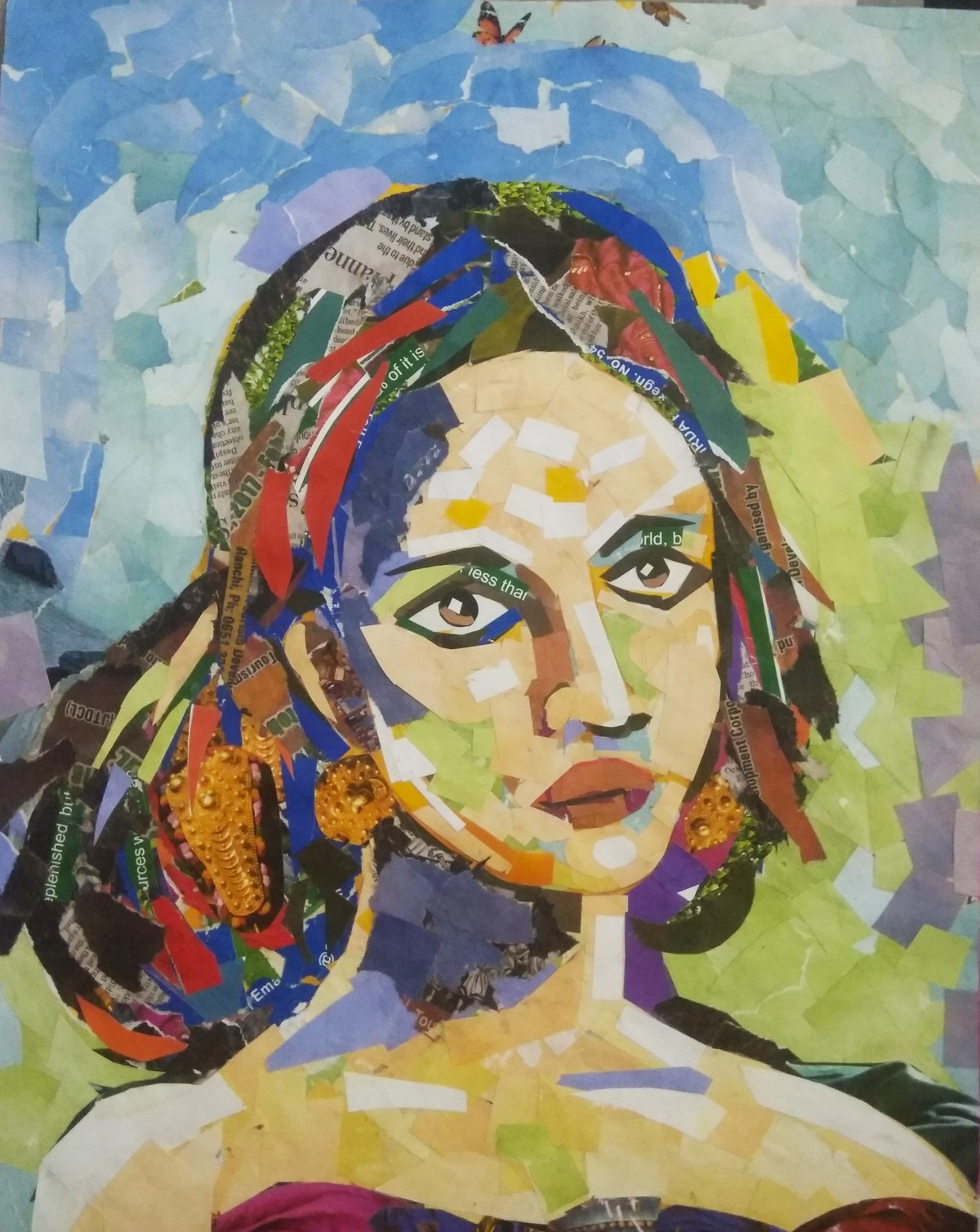Portrait by A B PANDEY, Expressionism Painting, Mixed Media, Beige color