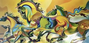 horses by Sudhir Bhagat, Expressionism Painting, Acrylic on Canvas, Beige color
