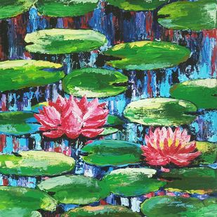 Two Pink Water Lilly Shine by Ananda Ahire, Expressionism Painting, Acrylic on Canvas, Green color