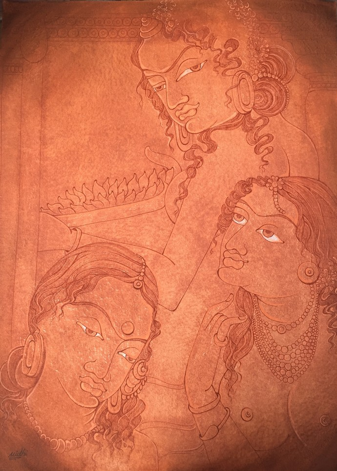 AJANTA LADIES GOSSIP by Nidhi Jaiswal, Impressionism Painting, Watercolor Wash on Paper, Brown color