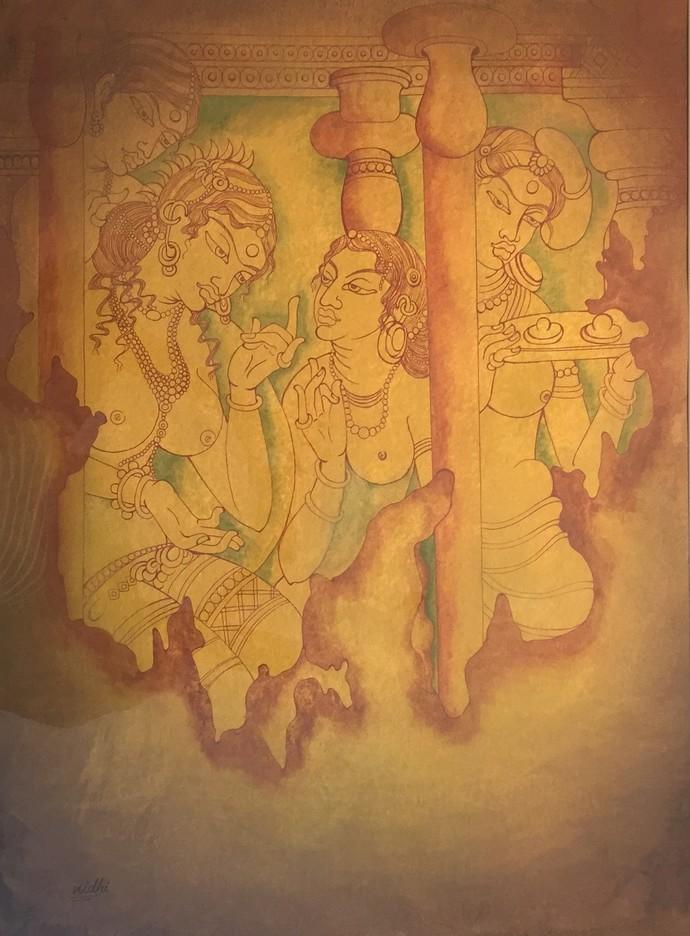 AJANTA LADIES GOSSIP by Nidhi Jaiswal, Impressionism Painting, Watercolor Wash on Paper, Brown color
