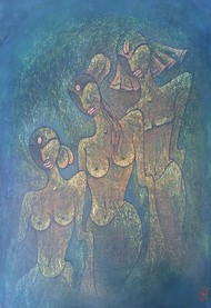 KRISHNA & GOPI by Nidhi Jaiswal, Expressionism Painting, Watercolor Wash on Paper, Green color