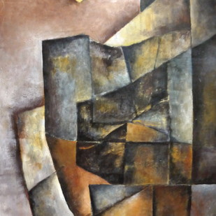 Untitled by Pradip Chaudhuri, Expressionism Painting, Acrylic on Canvas, Brown color