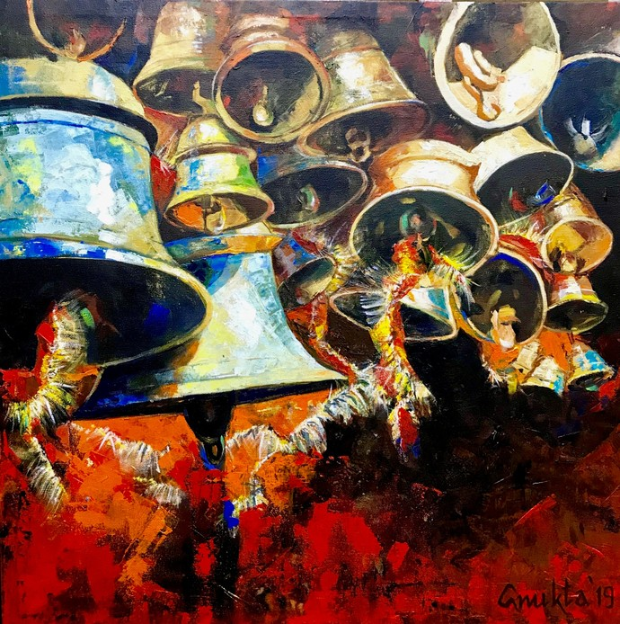 SOUNDS OF DIVINITY - III by Anukta Mukherjee Ghosh, Expressionism Painting, Acrylic on Canvas, Brown color