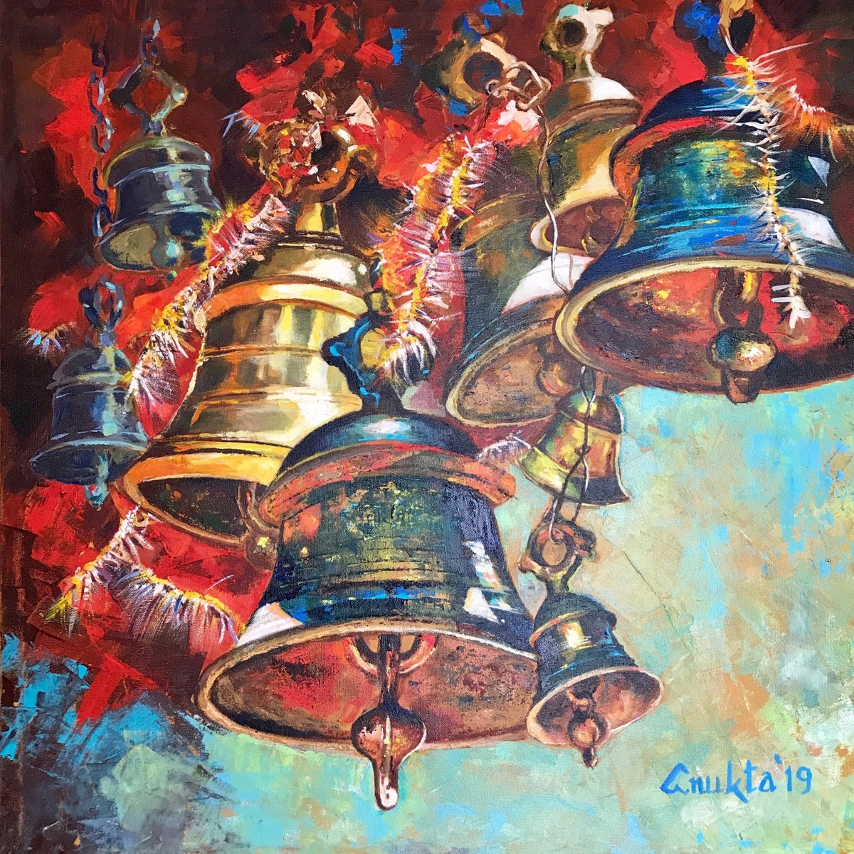 SOUNDS OF DIVINITY - IV by Anukta M Ghosh, Expressionism Painting, Acrylic on Canvas, Brown color
