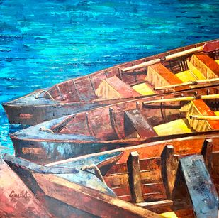 KASHTIYAAN - III by Anukta M Ghosh, Expressionism Painting, Acrylic on Canvas, Brown color