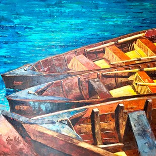 KASHTIYAAN - III by Anukta Mukherjee Ghosh, Expressionism Painting, Acrylic on Canvas, Brown color