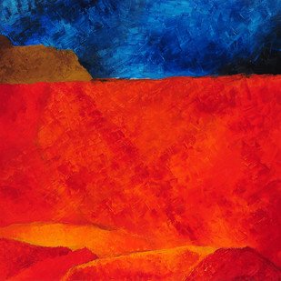 Untitled by Akbar Padamsee, Abstract Painting, Print on Canvas, Red color