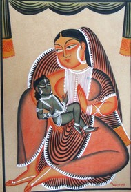 Untitled by Anwar Chitrakar, Folk Painting, Mixed Media on Paper, Brown color