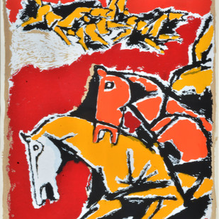 Untitled by M F Husain, Expressionism Serigraph, Serigraph on Paper, Brown color