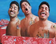 3 Idiots by Snehasish Maity, Photorealism Painting, Oil on Canvas, Brown color
