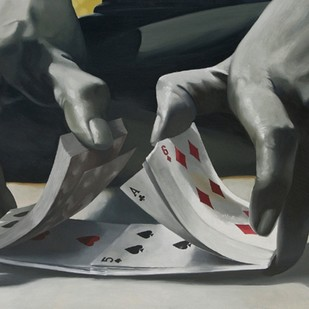 Mind Game by Snehasish Maity, Realism Painting, Oil on Canvas, Gray color