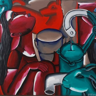 The Hand Pump by Swapan Bhandary, Expressionism Painting, Acrylic on Canvas, Brown color