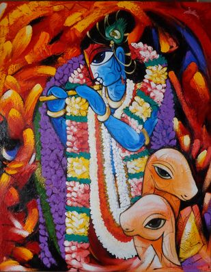 Krishna Deva by Sachindranath Jha, Decorative Painting, Acrylic on Canvas, Brown color