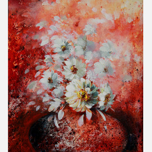 Flower by Sujata Chouksey, Expressionism Painting, Acrylic on Board, Brown color