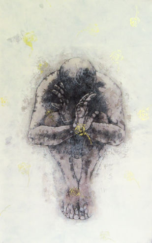 BETWEEN BODY & OBJECT - II by Satyabrata Adhikary, Illustration Painting, Acrylic & Ink on Canvas, Gray color