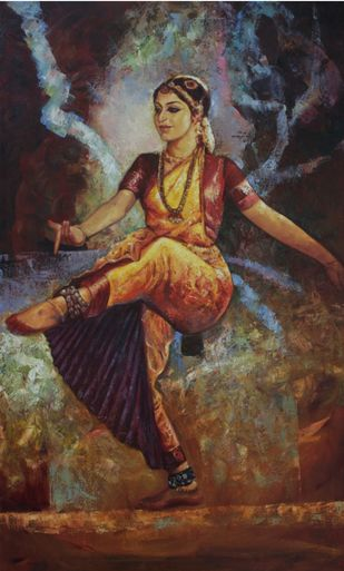 Bharatanatyam II by Ashis Mondal, Traditional Painting, Oil on Canvas, Brown color