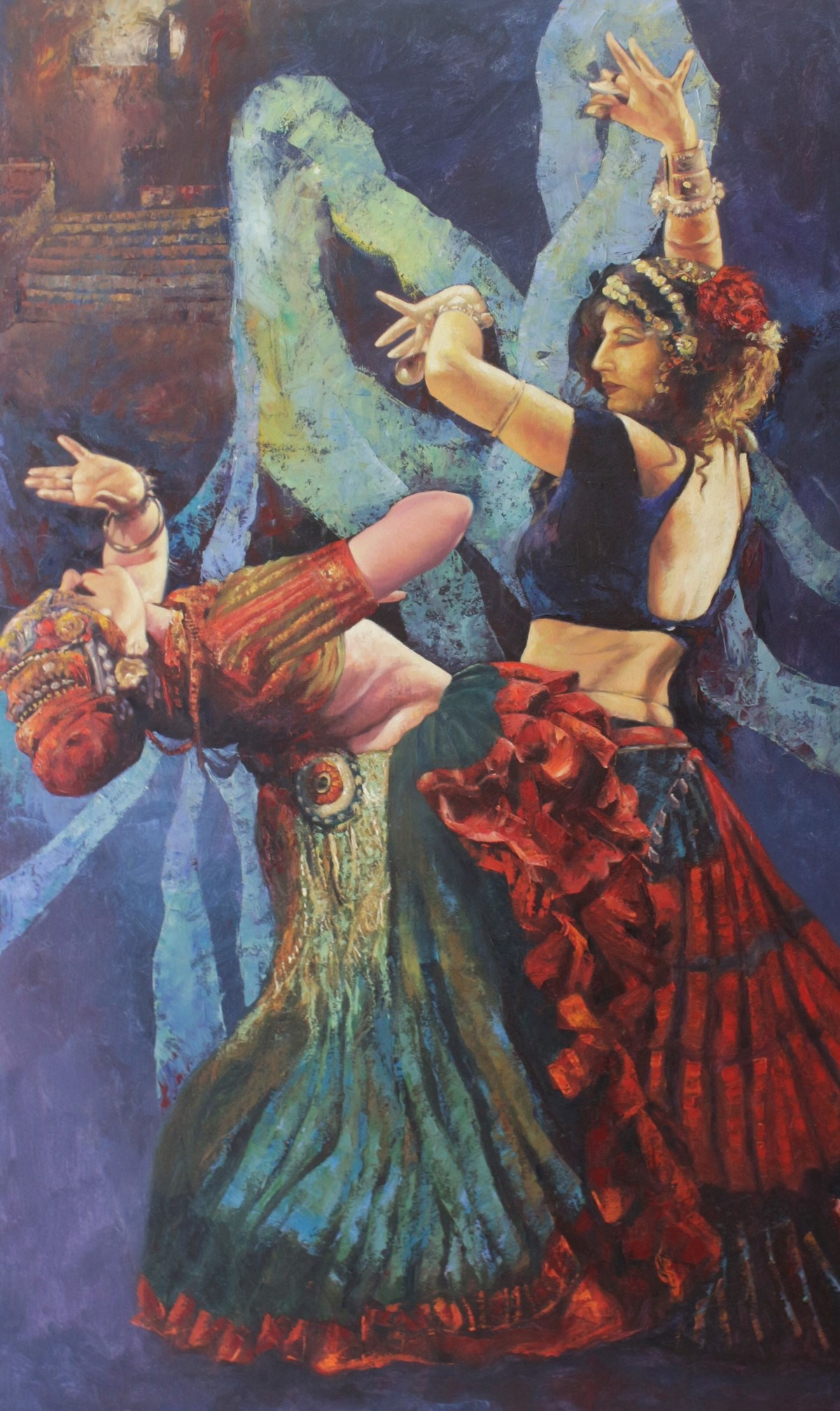 Flamenco-I by Ashis Mondal, Traditional Painting, Oil on Canvas, Brown color