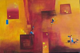 Untitled by Gauri Gulati, Abstract Painting, Acrylic on Canvas, Brown color