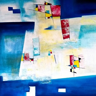 Untitled by Gauri Gulati, Abstract Painting, Acrylic on Canvas, Blue color