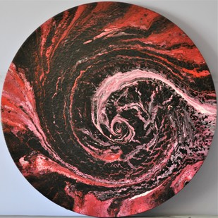 Red Whirlpool by Mehernosh Venkatraman, Abstract Painting, Acrylic on Canvas, Brown color