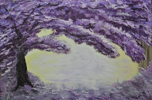 Purple Tree by Mehernosh Venkatraman, Abstract Painting, Acrylic on Canvas, Blue color