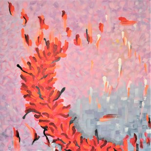 Reaching upwards to freedom by Mehernosh Venkatraman, Abstract Painting, Acrylic on Canvas, Pink color
