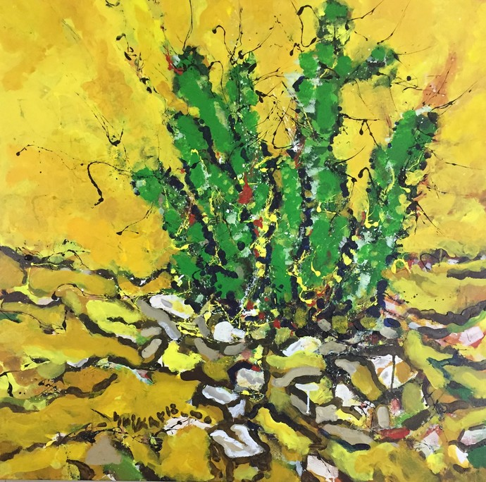 cactus by Saikat Chakraborty, Painting, Acrylic on Canvas, Green color