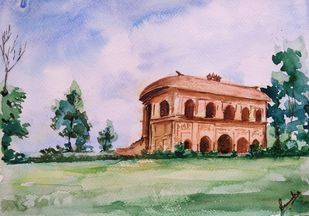 Rang ghar by Samudra Kallol Sarma, Impressionism Painting, Watercolor on Paper, Pink color