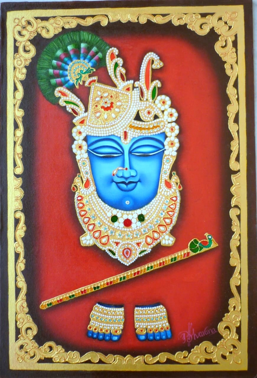 Mukharbin Shrinath ji by Bhavana Saxena, Traditional Painting, Oil on Canvas Board, Brown color