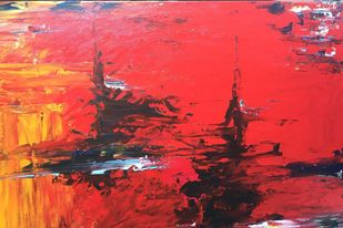 ABSTRACT SEA SCAPE by Nidhi Jaiswal, Abstract Painting, Acrylic on Canvas, Red color
