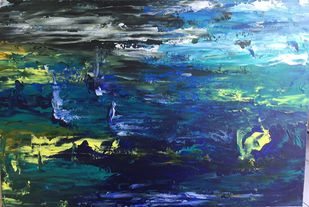 ABSTRACT SEA SCAPE by Nidhi Jaiswal, Abstract Painting, Acrylic on Canvas, Blue color
