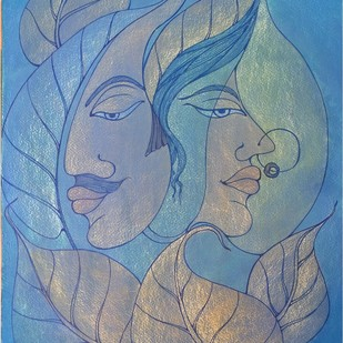 COUPLE by Nidhi Jaiswal, Expressionism Painting, Watercolor Wash on Paper, Blue color