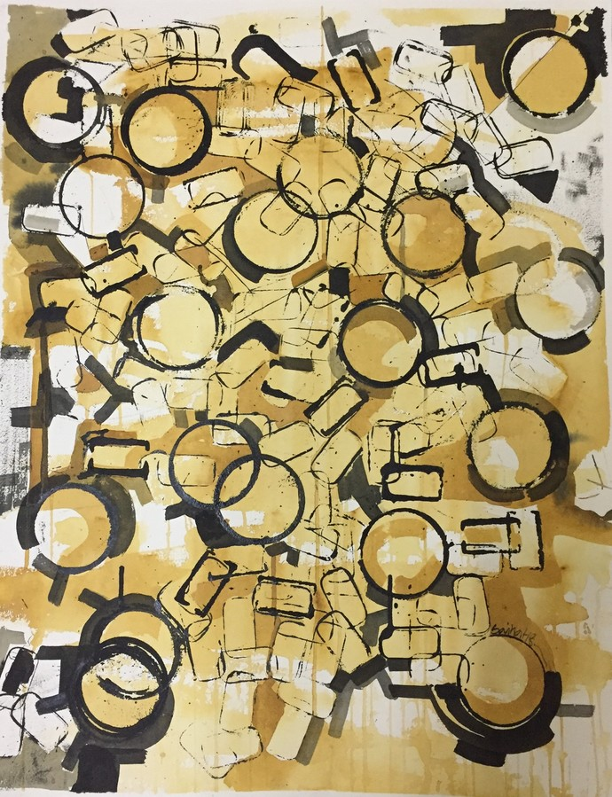 time keepers dream by Saikat Chakraborty, Geometrical Drawing, Ink on Paper, Beige color