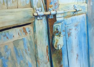 Locked door by Laishram Jenny , Impressionism Painting, Watercolor on Paper, Cyan color