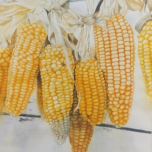 Hanging Maize by Laishram Jenny , Impressionism Painting, Watercolor on Paper, Beige color