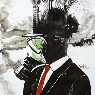Apocalypse by Aashish kumar, Fantasy Painting, Watercolor on Paper, Gray color