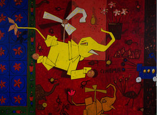 khilona IV by Mohd Majeed Mansoori, Expressionism Painting, Acrylic on Canvas, Brown color