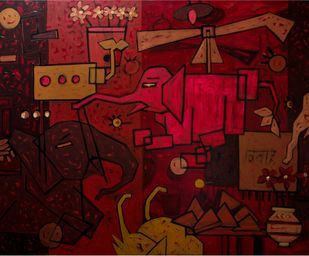 Khilona - ii by Mohd Majeed Mansoori, Expressionism Painting, Acrylic on Canvas, Brown color
