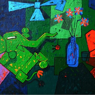 Khilona-f by Mohd Majeed Mansoori, Expressionism Painting, Acrylic on Canvas, Green color