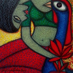 NEEDS by Supriyo Sahoo, Traditional Painting, Acrylic & Ink on Paper, Green color