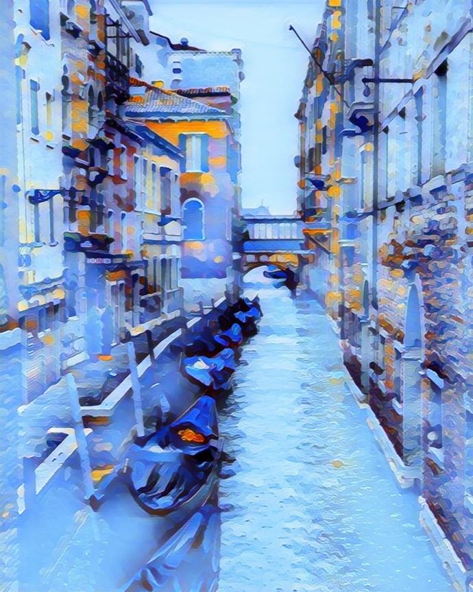 Cityscape by A S Pithadia, Digital Digital Art, Digital Print on Canvas, Cyan color