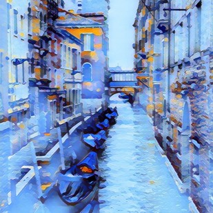 Cityscape by A S Pithadia, Digital Digital Art, Digital Print on Canvas, Cyan color