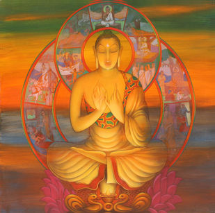 buddha by Amritraj Koban, Expressionism Painting, Acrylic on Canvas, Brown color