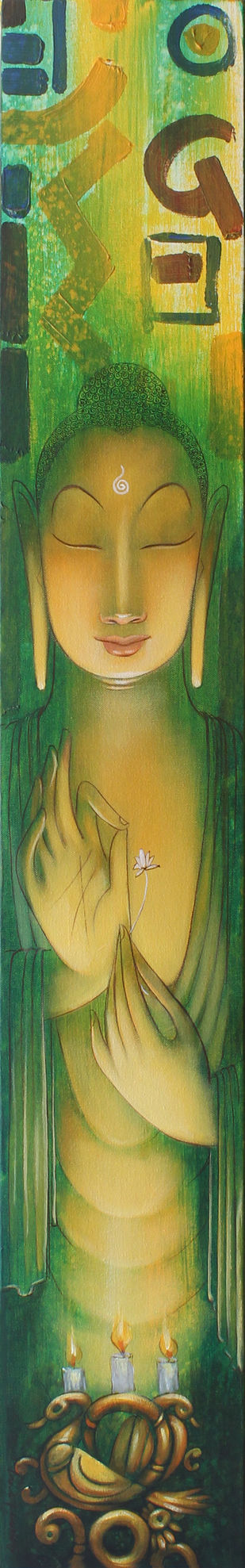buddha by Amritraj Koban, Expressionism Painting, Acrylic on Canvas, Green color