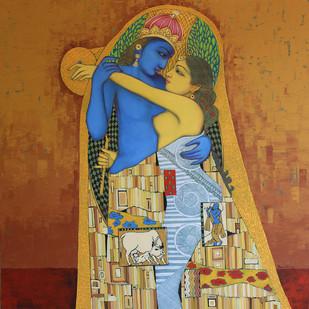 raas-leela by Amritraj Koban, Traditional Painting, Acrylic on Canvas, Brown color